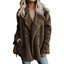 Χαμηλού Κόστους Βάζα & Κουτιά-Γυναικεία Καθημερινά Φθινόπωρο & Χειμώνας Κανονικό Faux Fur Coat, Μονόχρωμο Κλασικό Πέτο Μακρυμάνικο Ψεύτικη Γούνα Μαύρο / Ανοιχτό Γκρι / Καφέ