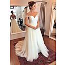 billiga Bröllopsdekorationer-A-linje Off shoulder Svepsläp Polyester / Tyll Kortärmad Bröllopsklänningar tillverkade med Applikationsbroderi 2020
