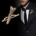 baratos Broches-Homens Cristal Broches Clássico Sagitário Arrow Clássico Básico Punk Rock Fashion Broche Jóias Dourado Prata Para Casamento Festa Diário Trabalho Bandagem