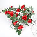 baratos Plantas Artificiais-Flor artificial 1 pc ramo único país estilo simples parede rosa flor pendurado na parede decoração de natal