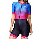 Χαμηλού Κόστους Φώτα νησί-BOESTALK Γυναικεία Κοντομάνικο Ολόσωμη στολή για τρίαθλο Κόκκινο+Μπλε Καρό Κουκκίδα Ριγέ Ποδήλατο Αναπνέει Ύγρανση Γρήγορο Στέγνωμα Ανατομικός Σχεδιασμός Πίσω τσέπη Αθλητισμός Spandex Καρό / Ελαστικό