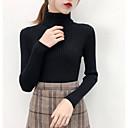 ราคาถูก เสื้อผู้หญิง-สำหรับผู้หญิง สีพื้น แขนยาว ผ้าคลุมหลัง เสื้อกันหนาวจัมเปอร์, ครูเน็ค สีดำ / ขาว / สีแดงชมพู S / M / L