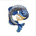 baratos Pulseiras Masculinas-Homens Mulheres Broches Peixes Estilo bonito Imitação de Pérola Broche Jóias Azul Para Diário