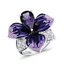 billige Fashion Rings-Dame Ring 1pc Lilla Fuskediamant Legering Annerledes Koreansk Mote søt stil Daglig Smykker Blomst