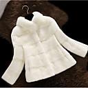 billiga Modeörhängen-Dam Dagligen Grundläggande Normal Faux Fur Coat, Enfärgad Hög krage Långärmad Fuskpäls Svart / Vit / Rodnande Rosa