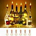 billige Vifte-loende flamme korkformede lys 6-pak brannflaskeflasker lyser batteridrevne levende lys for vinflasker