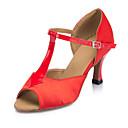baratos Sapatos de Dança Latina-Mulheres Sapatos de Dança Latina Cetim Estilo -T Salto Recortes Salto Carretel Personalizável Sapatos de Dança Vermelho / Ensaio / Prática