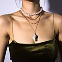 Χαμηλού Κόστους Μοδάτο Κολιέ-Γυναικεία Κρεμαστά Κολιέ Κρεμαστό πολυεπίπεδη Κολιέ Γράμμα Casual / Σπορ Μαργαριτάρι Όστρακο Χρυσό 30+10    36   40   50 cm Κολιέ Κοσμήματα 1pc Για Δώρο