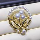 billige Tote-vesker-Dame Ferskvannsperle Nåler Flower Shape Perle Brosje Smykker Hvit Til Festival
