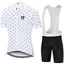 Χαμηλού Κόστους Μάσκαρες-MAKOSHARK Πουά Ανδρικά Κοντομάνικο Αθλητική φανέλα και σορτς ποδηλασίας - Μαύρο Λευκό Ποδήλατο Ρούχα σύνολα Αναπνέει Ύγρανση Γρήγορο Στέγνωμα Αθλητισμός Polyster Λίκρα / Προηγμένο / Ελαστικό