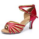 Χαμηλού Κόστους Παπούτσια χορού λάτιν-Γυναικεία Παπούτσια Χορού Σατέν Παπούτσια χορού λάτιν Τακούνια Λεπτή ψηλή τακούνια Εξατομικευμένο Σκούρο κόκκινο / Επίδοση