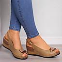 baratos Sandálias Femininas-Mulheres Sandálias Salto Plataforma Peep Toe Couro Ecológico Verão Marron / Cinzento