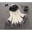 Χαμηλού Κόστους Στολές της παλιάς εποχής-Γυναικεία Καθημερινά Φθινόπωρο & Χειμώνας Κανονικό Faux Fur Coat, Συνδυασμός Χρωμάτων Με Κουκούλα Μακρυμάνικο Ψεύτικη Γούνα Blană Curată Μαύρο / Λευκό
