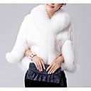 olcso Menyasszonyi sálak és stólák-Női Napi Alap Szokványos Faux Fur Coat, Egyszínű Térfogatcsökkenés Hosszú ujj Műszőrme Fekete / Fehér