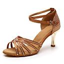 baratos Sapatos de Dança Latina-Mulheres Sapatos de Dança Cetim Sapatos de Dança Latina Pedrarias / Cristal / Strass Salto Calcanhar Transparente Banhado a Ouro Personalizável Marron / Espetáculo