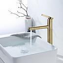 billiga Tvättställsblandare-Badrum Tvättställ Kran - Utdragbar dusch Borstat guld Centerset Singel Handtag Ett hålBath Taps
