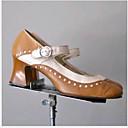 ราคาถูก รองเท้าเต้นโมเดิร์นและรองเท้าบัลเล่ต์-สำหรับผู้หญิง รองเท้าแตะ ส้นหนา ปลายกลม PU ฤดูร้อน สีดำ / สีน้ำตาล / น้ำเงินเข้ม