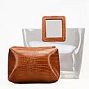 povoljno Tote torbe-Žene Patent-zatvarač PVC Bag Setovi Jedna barva 2 kom Crn / Braon / Obala