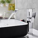 billiga Tvättställsblandare-Badrum Tvättställ Kran - Vattenfall Krom Centerset Ett hål / Singel Handtag Ett hålBath Taps