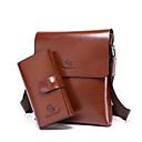 ราคาถูก กระเป๋าถือ-สำหรับผู้ชาย ซิป PU ชุดกระเป๋า สีทึบ ชุดกระเป๋าเงิน 2 ใบ สีน้ำตาล / น้ำตาลเข้ม
