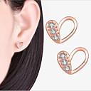 Χαμηλού Κόστους Παντελόνια, Σορτσάκια, Κολάν Ποδηλασίας-Γυναικεία Cubic Zirconia Κουμπωτά Σκουλαρίκια Κλασσικό Καρδιά Love Στυλάτο Απλός Με Επίστρωση Ροζ Χρυσού Σκουλαρίκια Κοσμήματα Χρυσό Τριανταφυλλί Για Γάμου Πάρτι Αρραβώνας Δώρο Φεστιβάλ 1 Pair