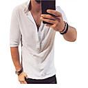 ราคาถูก เสื้อยืดและเสื้อกล้ามผู้ชาย-สำหรับผู้ชาย เสื้อเชิร์ต สีพื้น สีดำ