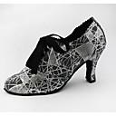 Χαμηλού Κόστους Μπότες Χορού-Γυναικεία Παπούτσια Χορού PU Παπούτσια τζαζ Τακούνια Κουβανικό Τακούνι Εξατομικευμένο Γκρι Ασημί
