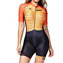 Χαμηλού Κόστους 3D κουρτίνες-BOESTALK Γυναικεία Κοντομάνικο Ολόσωμη στολή για τρίαθλο Κόκκινο / Κίτρινο Ποδήλατο Αναπνέει Ύγρανση Γρήγορο Στέγνωμα Ανατομικός Σχεδιασμός Πίσω τσέπη Αθλητισμός Spandex Οριζόντιες λωρίδες / Ελαστικό