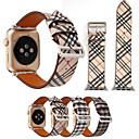 billige Kjøkkenverktøy Tilbehør-rutete mønster skinn armbånd stropp for apple watch band 44mm / 40mm / 42mm / 38mm kvinner / menn klokker armbånd for klokke serie 3 2 1