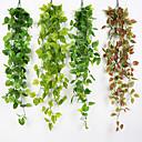 Χαμηλού Κόστους Τεχνητά φυτά-1pc προσομοίωση φύλλα σταφυλιών τρισδιάστατο πράσινο ραπανάκι μεγάλο φύλλο ψεύτικο λουλούδι μπαστούνι οροφή πράσινο αμπέλι μηχανική διακόσμηση αμπέλι σοφίτα οροφή εστιατόριο καθιστικό δωμάτιο