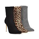 billige Mote Boots-Dame Støvler Trykk sko Stiletthæl Spisstå Elastisk stoff Ankelstøvler Klassisk / minimalisme Vår & Vinter / Høst vinter Svart / Leopard / Sølv