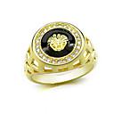ราคาถูก แหวนผู้ชาย-สำหรับผู้ชาย แหวน 1pc สีเหลือง ทองแดง วงกลม พื้นฐาน เกาหลี แฟชั่น เทศกาล เครื่องประดับ Lion Animal เท่ห์