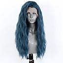 povoljno Vrhunske sintetičke perike s kapom-Prednja perika od sintetičkog čipke Wavy Stražnji dio Lace Front Perika Dug Plava Sintentička kosa 18-26 inch Žene Prilagodljiv Otporan na toplinu Party Plava