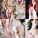 baratos adesivos tatuagem-6 folhas grandes tatuagens temporárias flor papel sexy body tattoo sticker para as mulheres& tatuagem falsa menina (lírio peônia ameixa pêssego)