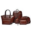 ราคาถูก กระเป๋าถือ-สำหรับผู้หญิง ซิป Patent Leather / PU ชุดกระเป๋า สีทึบ ชุดชอปปิ้งชุด 6 ชิ้น สีดำ / สีน้ำตาล / ทับทิม