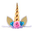 baratos Decorações para Aniversários-1 pc headband acessórios brilho metálico unicórnio chifre com chiffon flores cabelo festa de aro para as crianças