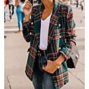 Χαμηλού Κόστους Γυναικείες Γόβες-Γυναικεία Καθημερινά Άνοιξη Κοντό Παλτό, Καρό Κολάρο Ρολό Μακρυμάνικο Πολυεστέρας Πράσινο του τριφυλλιού / Ρουμπίνι / Λεπτό