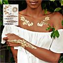 Χαμηλού Κόστους αυτοκόλλητα τατουάζ-3pcs νέα indian arabic σχέδια χρυσό ασημί φλας φυλετική τατουάζ henna τατουάζ metalicos μέταλλο αυτοκόλλητο τατουάζ φύλλα στο χέρι του σώματος