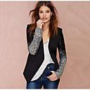 ราคาถูก ชุด-สำหรับผู้หญิง ทุกวัน ฤดูใบไม้ร่วง & ฤดูหนาว ปกติ แจ๊คเก็ต, สีพื้น ปกคอแบะของเสื้อแบบผ้าคลุม แขนยาว เส้นใยสังเคราะห์ สีดำ