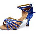 baratos Sapatos de Dança Latina-Mulheres Sapatos de Dança Cetim Sapatos de Dança Latina Salto Salto Alto Magro Personalizável Azul / Espetáculo
