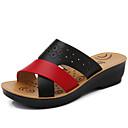 Χαμηλού Κόστους Παπούτσια χορού λάτιν-Γυναικεία Σανδάλια Τακούνι Σφήνα Στρογγυλή Μύτη Φο Δέρμα Καθημερινό / Μινιμαλισμός Ανοιξη καλοκαίρι Μαύρο / Πορτοκαλί / Μπλε / Συνδυασμός Χρωμάτων