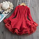 Χαμηλού Κόστους Φορέματα για κορίτσια-Παιδιά Νήπιο Κοριτσίστικα Ενεργό Κομψό στυλ street Patchwork Χριστούγεννα Μακρυμάνικο Πάνω από το Γόνατο Φόρεμα Λευκό