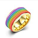 ราคาถูก แหวนผู้ชาย-สำหรับผู้ชาย แหวน 1pc สายรุ้ง Titanium Steel ทองชุบ รอบ Stylish ของขวัญ ทุกวัน เครื่องประดับ คลาสสิค สายรุ้ง เท่ห์