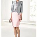 זול הלבשה תחתונה-שני חלקים עם תכשיטים / צווארון מרובע באורך  הברך סאטן שמלה לאם הכלה  עם סלסולים על ידי LAN TING Express / עטיפה כלולה
