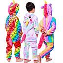 ราคาถูก ชุดนอน Kigurumi-สำหรับเด็ก Kigurumi Pajama Unicorn Flying Horse ม้าขนาดเล็ก Onesie Pajama ผ้าสักหลาด สีดำ / ขาว+ชมพู / ขาว คอสเพลย์ สำหรับ เด็กชายและเด็กหญิง สัตว์ชุดนอน การ์ตูน Festival / Holiday เครื่องแต่งกาย