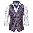 זול קישוט אורות-בגדי ריקוד גברים לבן שחור אודם US36 / UK36 / EU44 US38 / UK38 / EU46 US42 / UK42 / EU50 וסט גיאומטרי צווארון V רזה