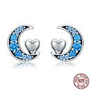 povoljno Modne naušnice-pravi 100% srebro 925 srebra plavo cz mjesec& naušnice u obliku slatkog srca za žene srebrni nakit sterling s925 sce330