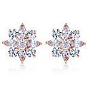 baratos Parasóis & Visores Para carros-Real cor prata brincos coleção com forma de flor multicolor / prata aaa zircon para as mulheres jóias