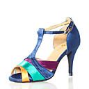 baratos Sapatos de Dança Latina-Mulheres Sapatos de Dança Cetim Sapatos de Dança Latina Recortes Salto Salto Alto Magro Personalizável Azul / Espetáculo