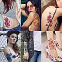 billige Neglelakk og gellakk-6 ark store midlertidige tatoveringer blomsterpapir sexy kropp tatovering klistremerke for kvinner& jente falske tatovering (lilje fersken plomme peony)